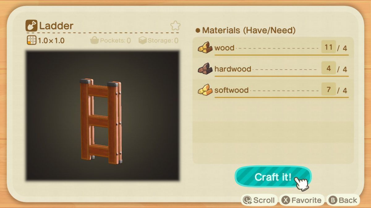The ingredients for a ladder in Animal Crossing: New Horizons.