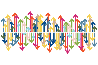 Multicolored up and down arrows