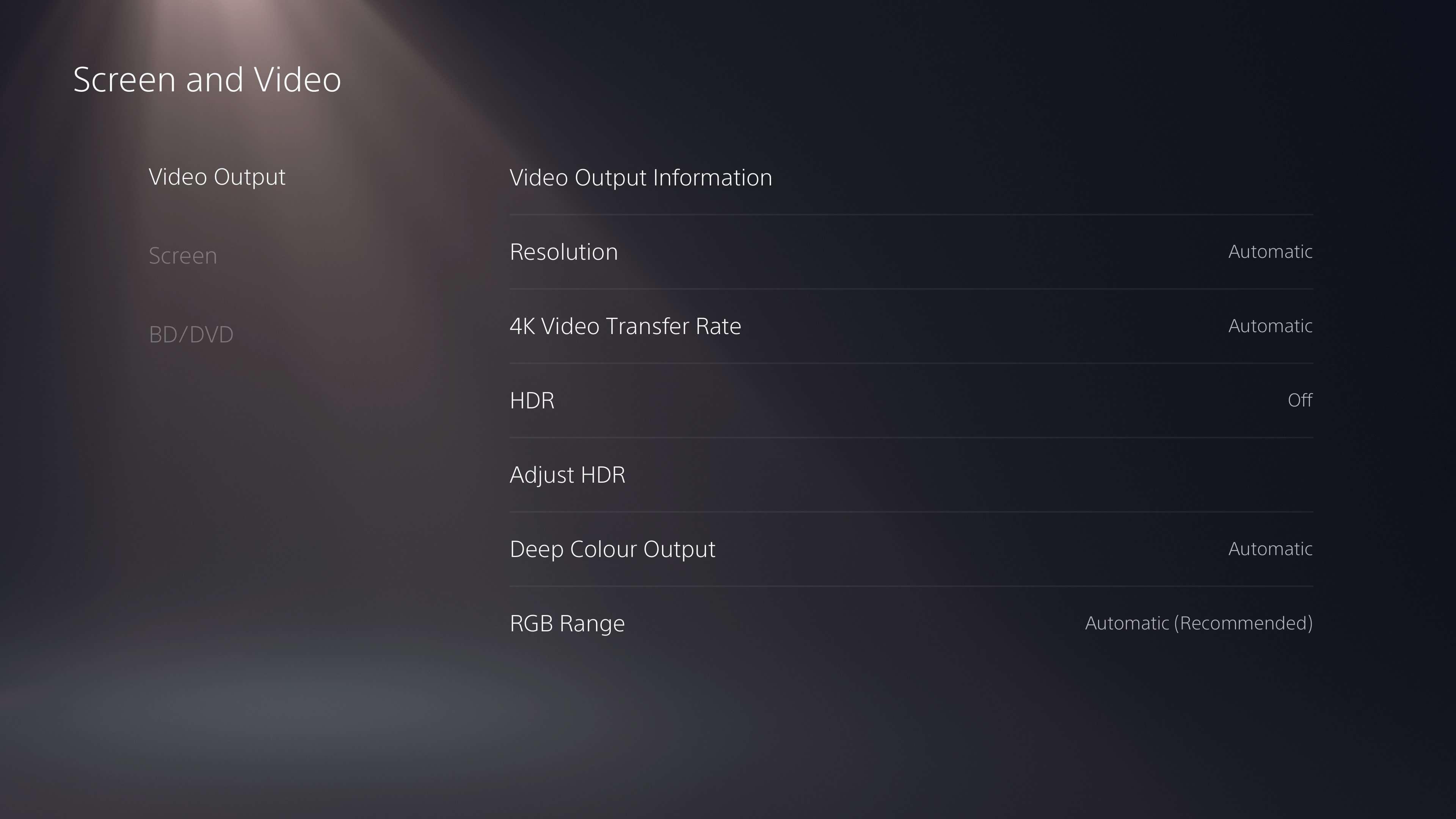 Screen and Video options in PS5 settings menu