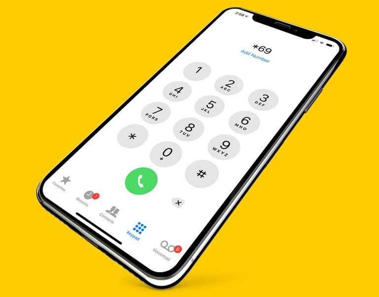 iPhone X showing call dial pad and *69 at the top