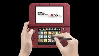 Hands using Nintendo 3DS XL