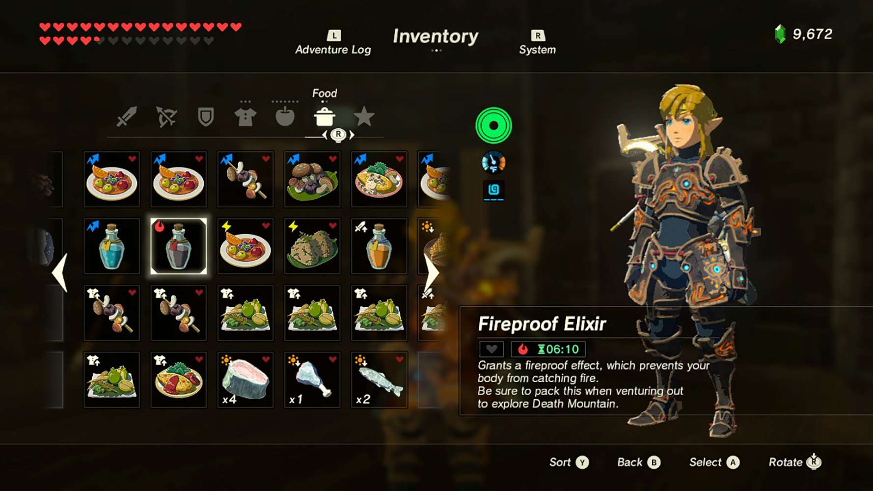 A screenshot of the inventory featuring an elixir in Legend of Zelda: Breath of the Wild