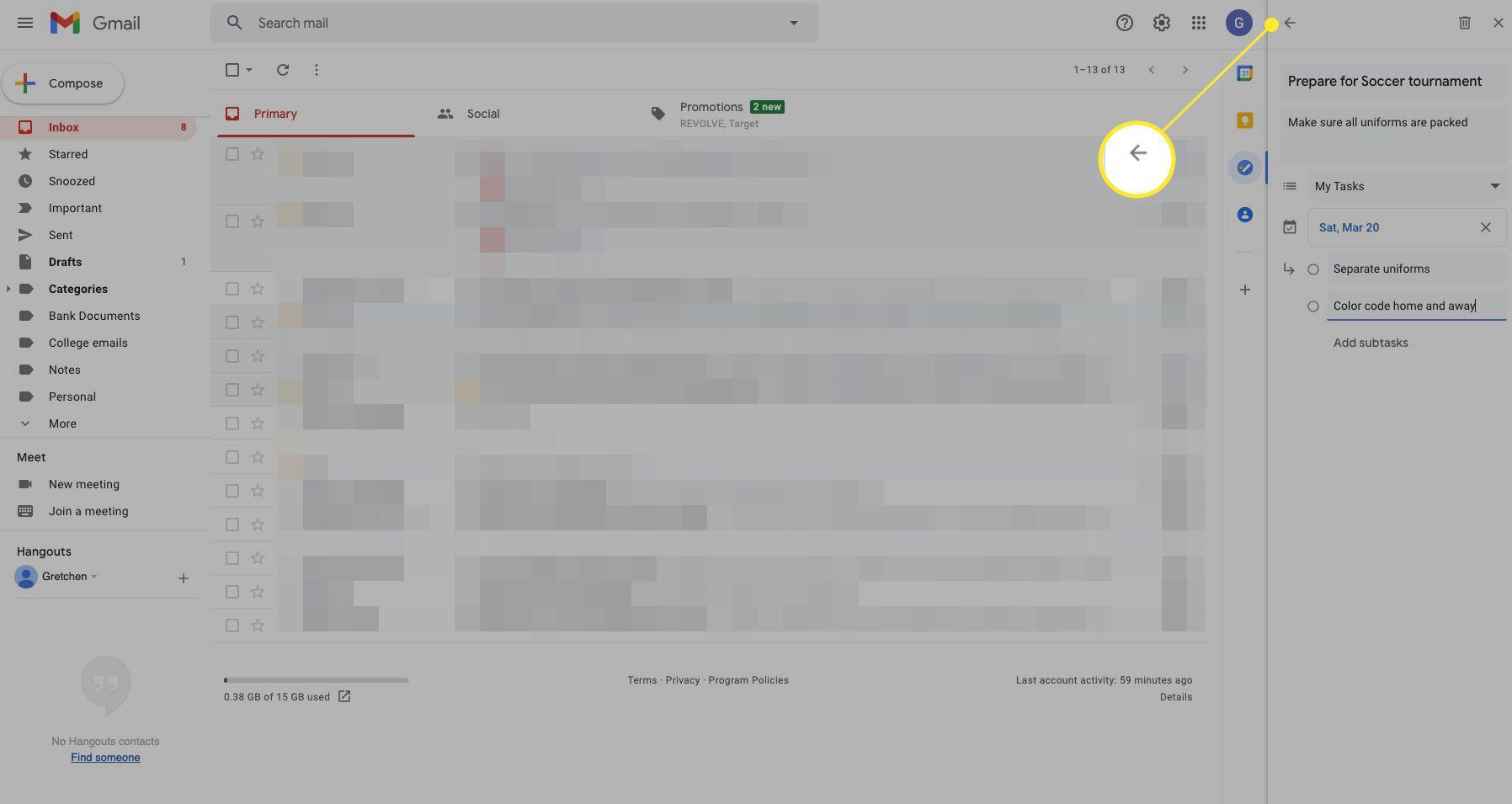Google tasks window with the back arrow highlighted