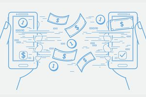 Illustration of cash flying from one smartphone to another