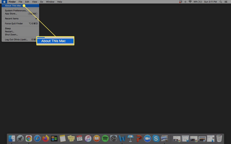 About this Mac menu option highlighted on Mac desktop under Apple menu