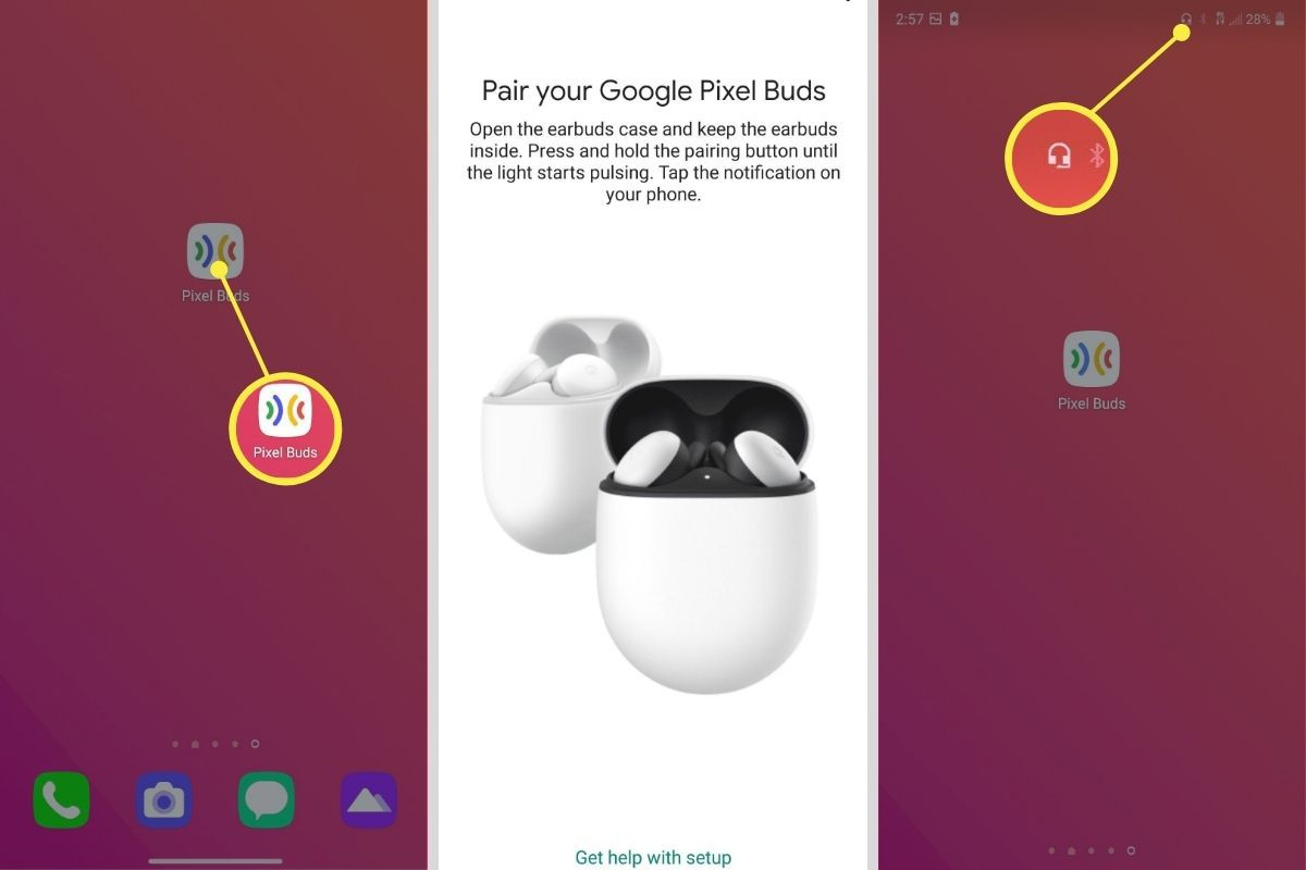 Steps to pair your Pixel Buds on an Android phone.