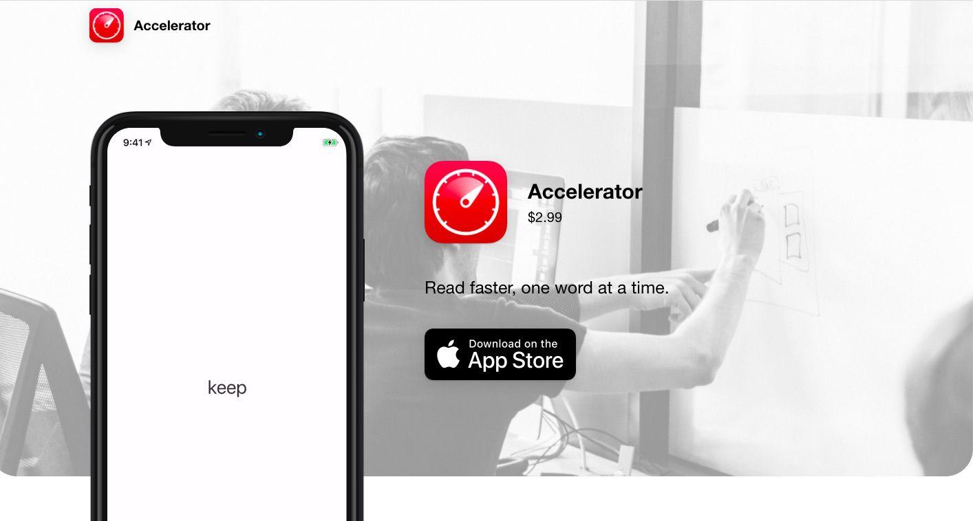 Accelerator speed reading app for iOS