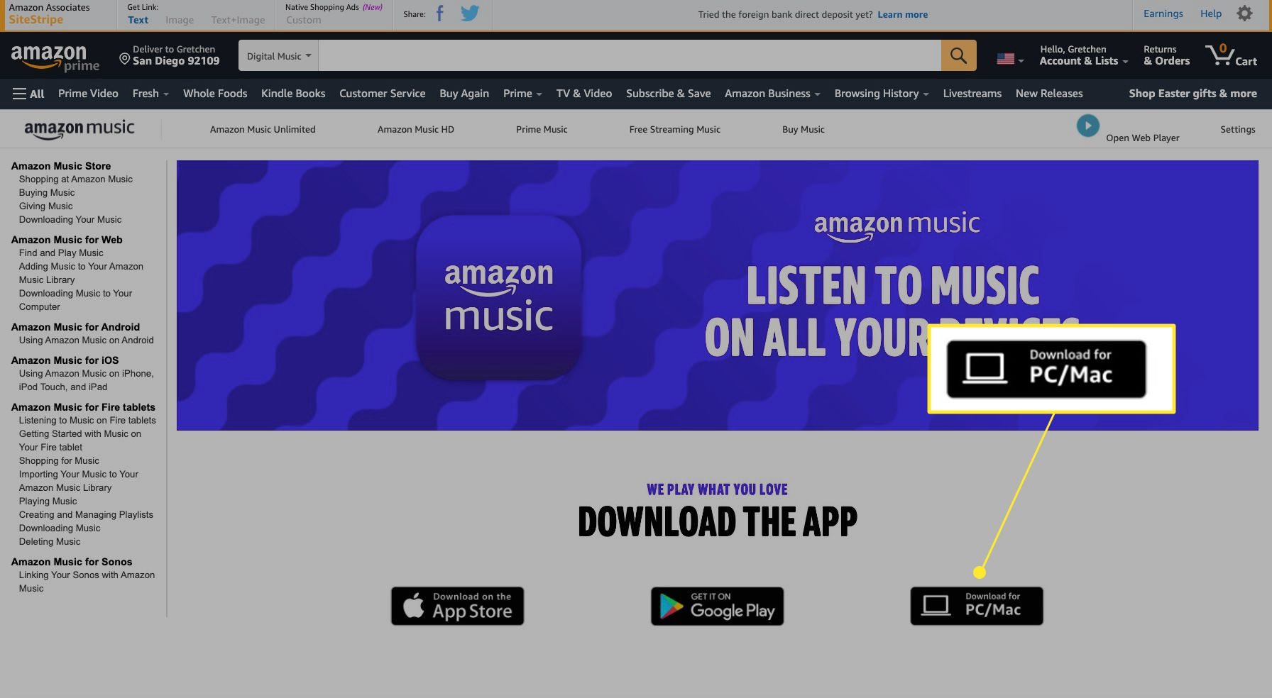 Amazon Music website with Download for PC/Mac highlighted