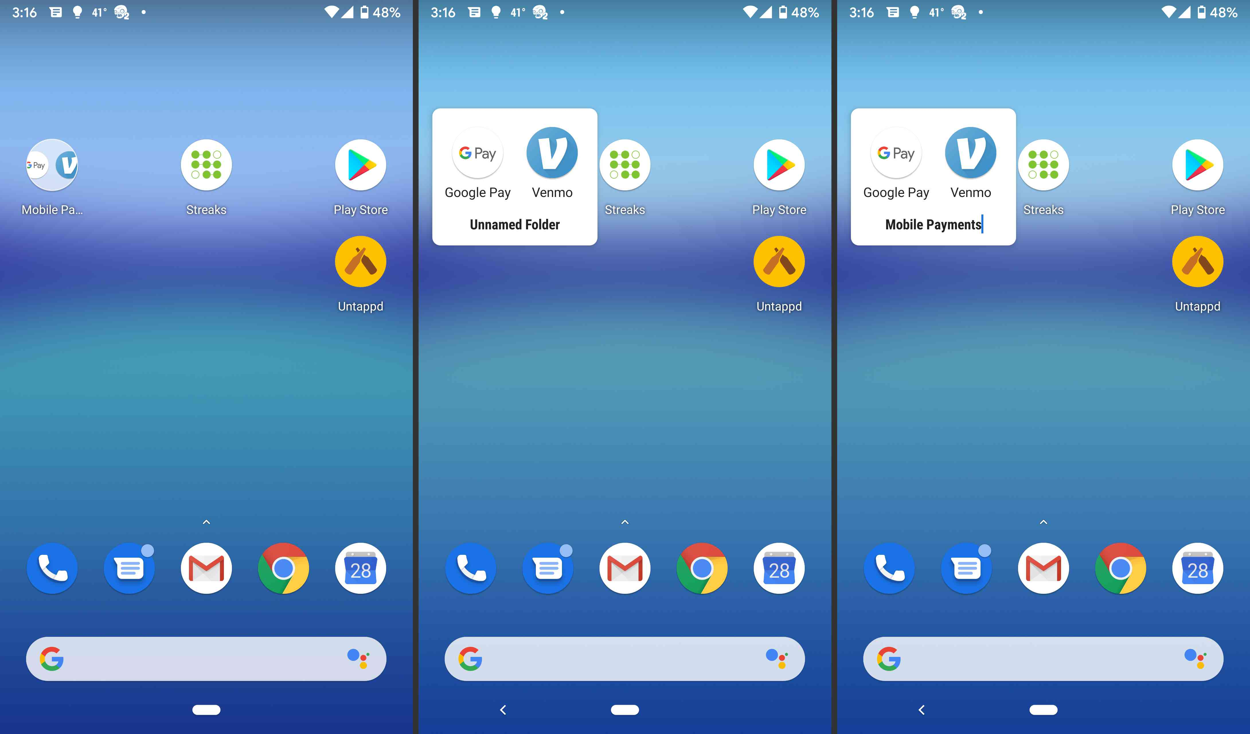 Android app folders.