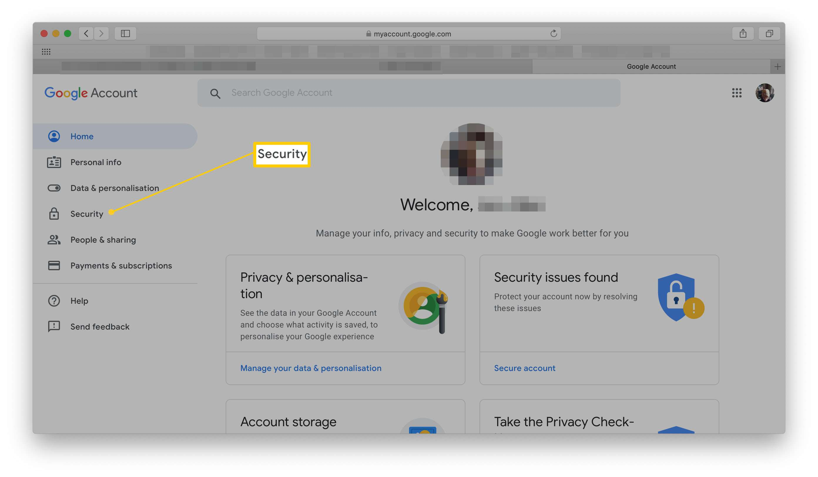 My Account on Google with Security highlighted