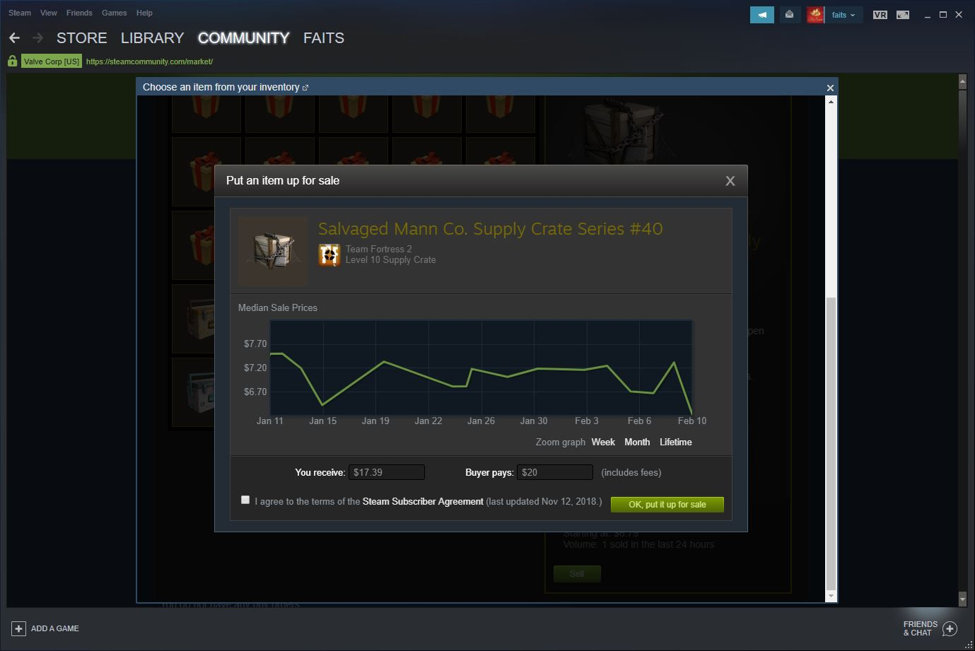 Steam Community Market listing page.