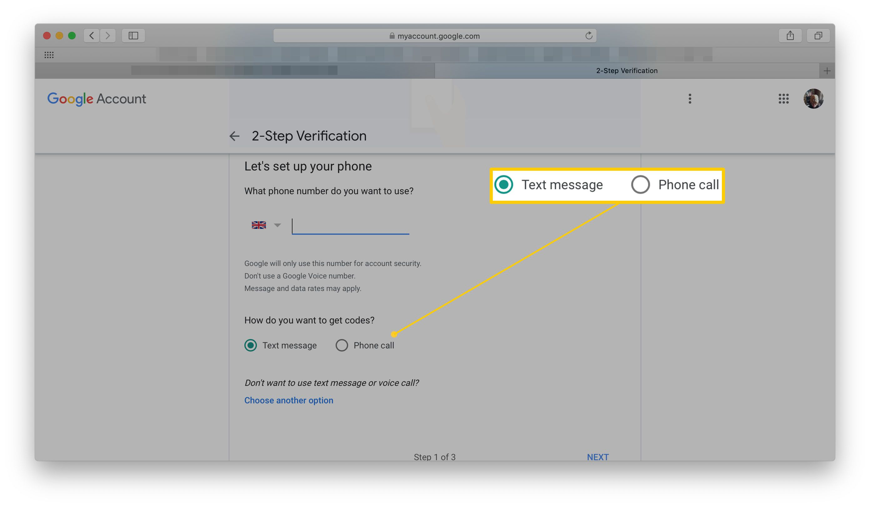 Google 2-Step Verification Page - Text Message or Phone Call options highlighted