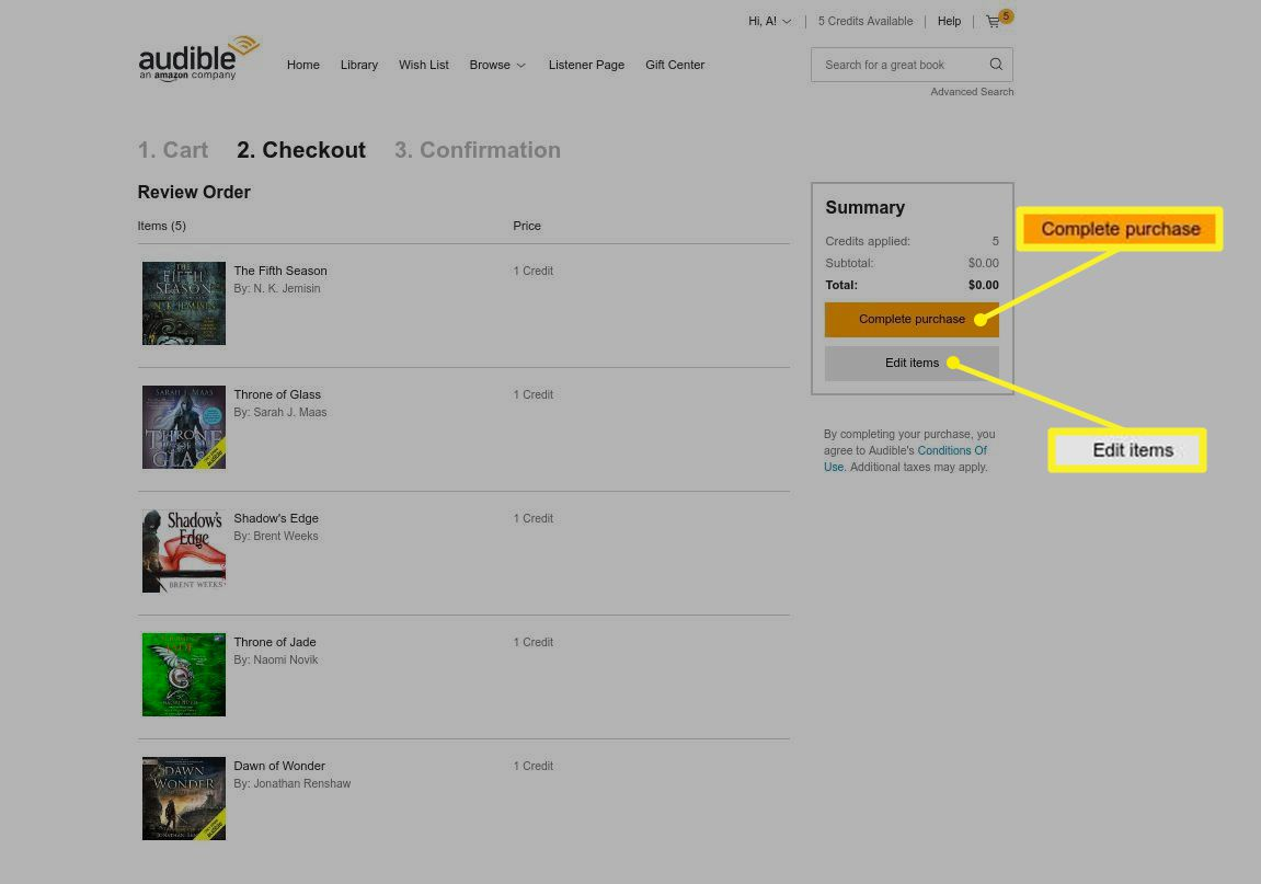 Check out screen with Complete purchase and Edit items highlighted