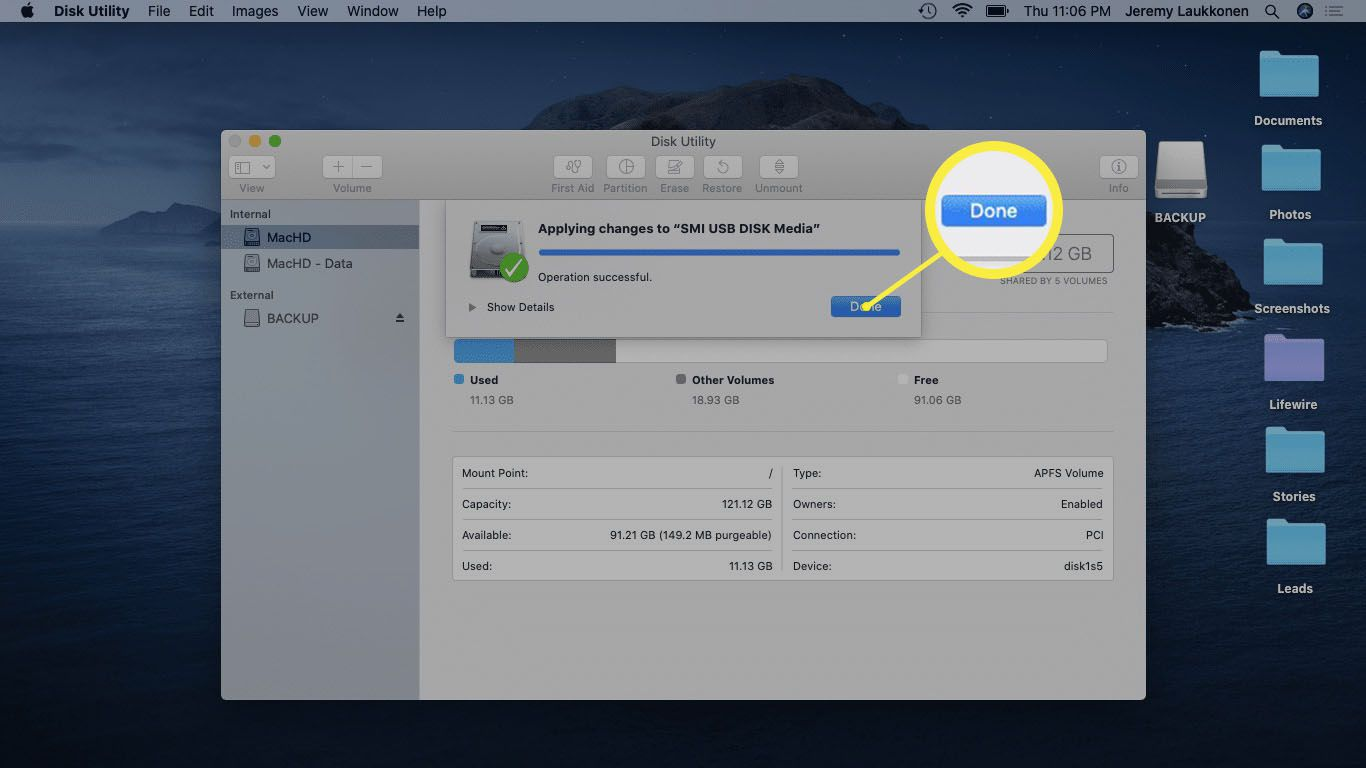 A screenshot of a re-partitioned USB drive on mac.