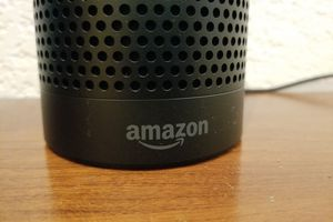 Bottom of Amazon Echo device on a table.