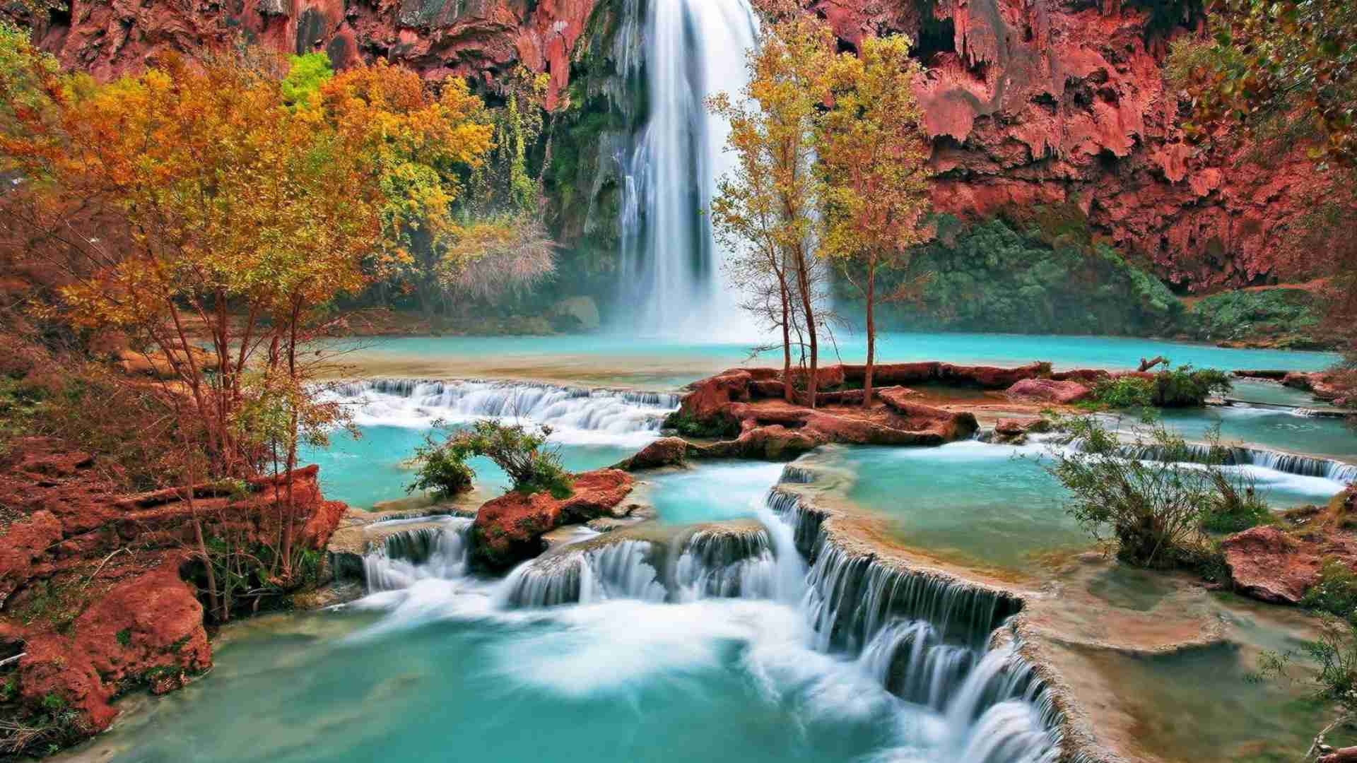 Free autumn wallpaper featuring a waterfall and river surrounded by trees with changing leaves.