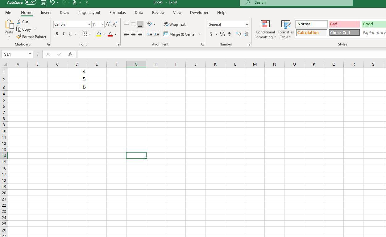 Screenshot of D1:D3 with data