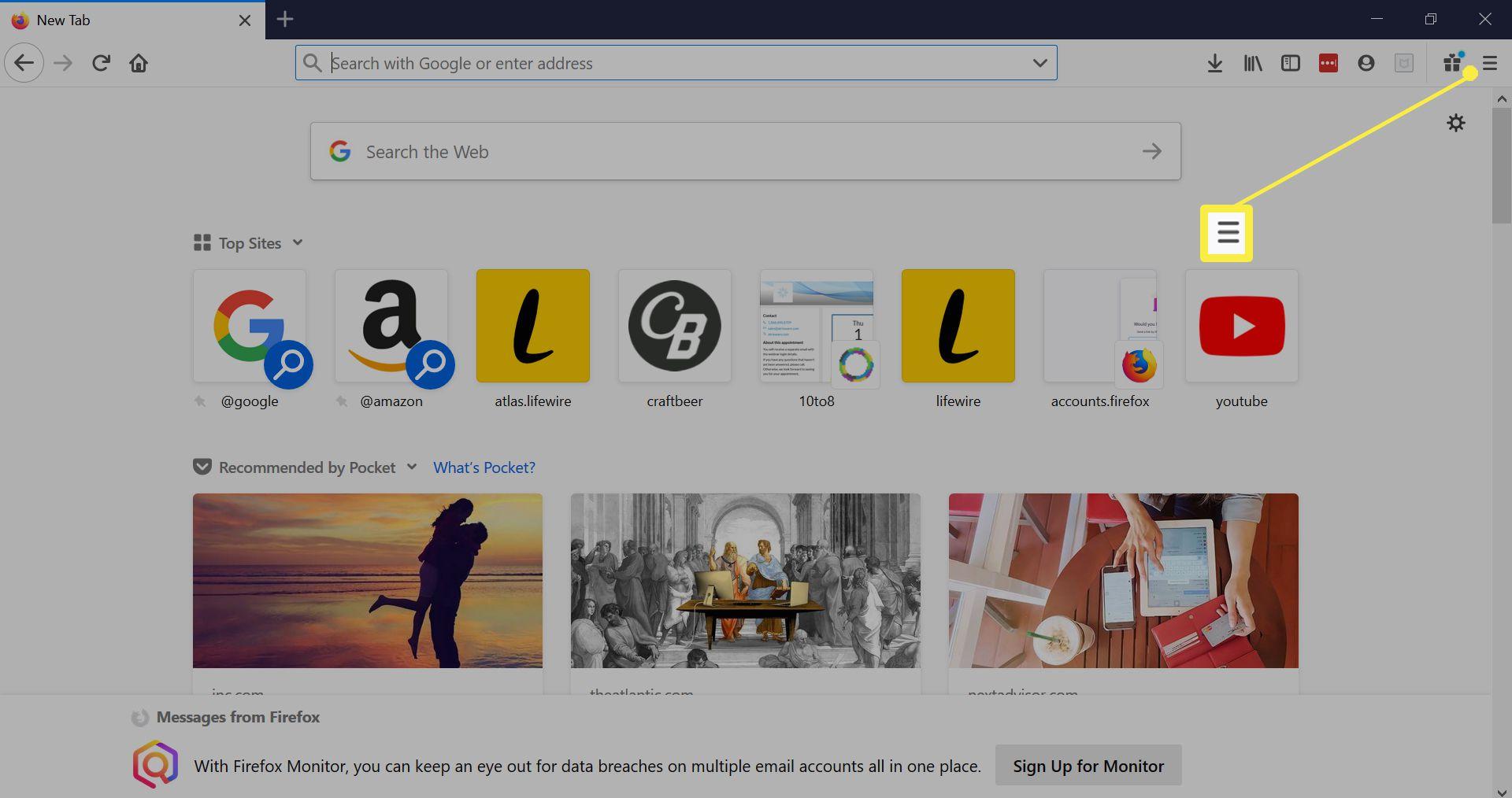 Firefox menu.