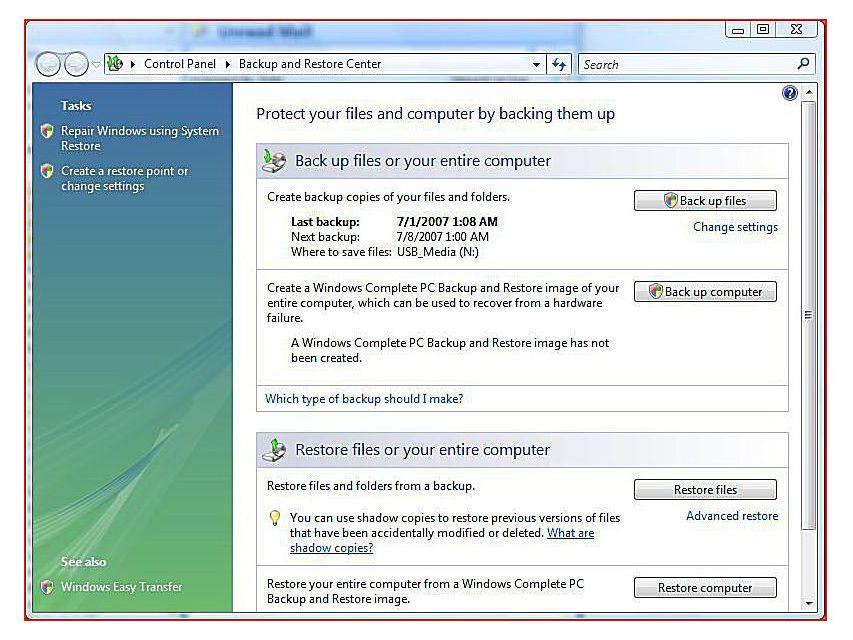 Backup and Restore Data in Windows Vista