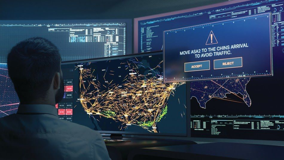 A air traffic controller at work in front of several computer monitors.