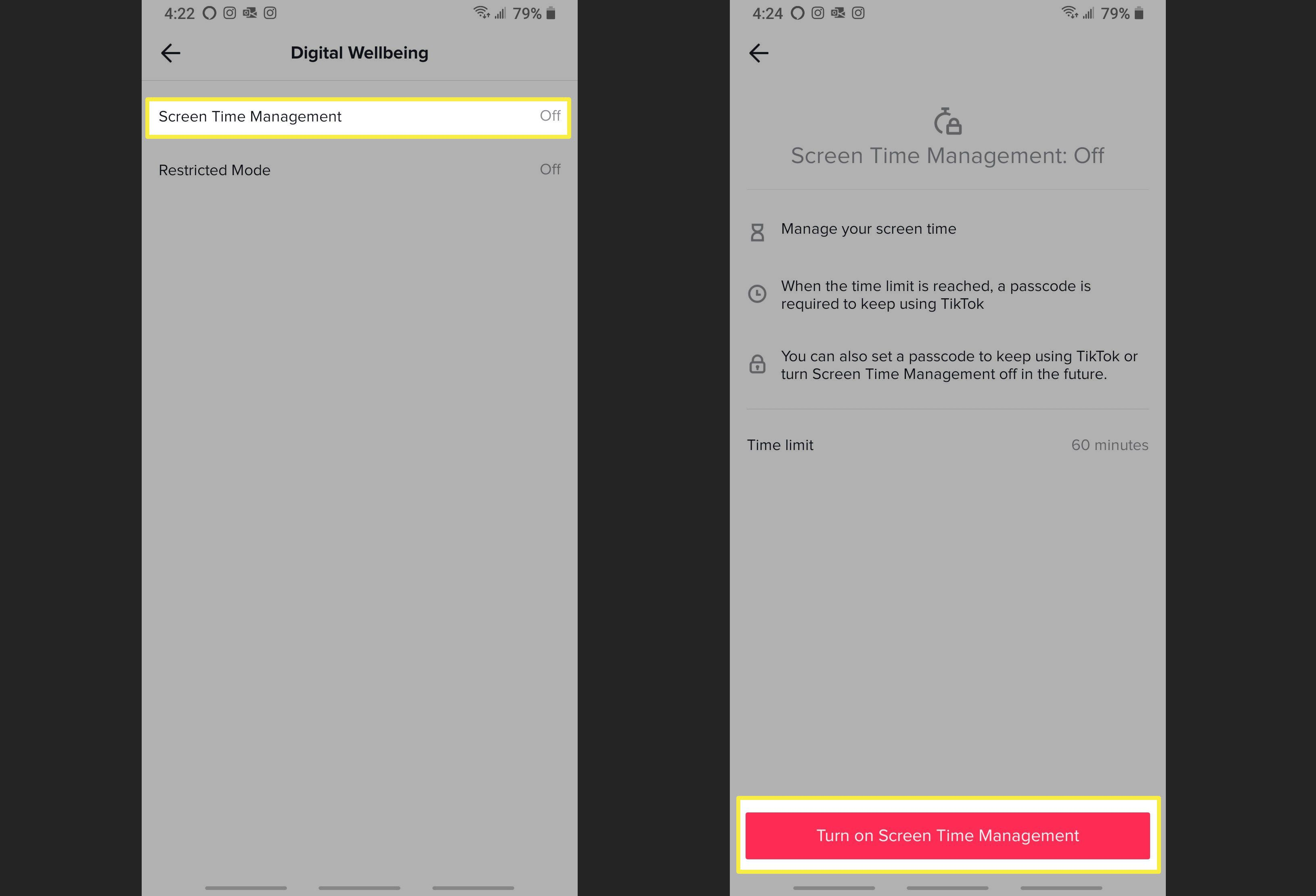 Turning on Screen Time Management on TikTok.