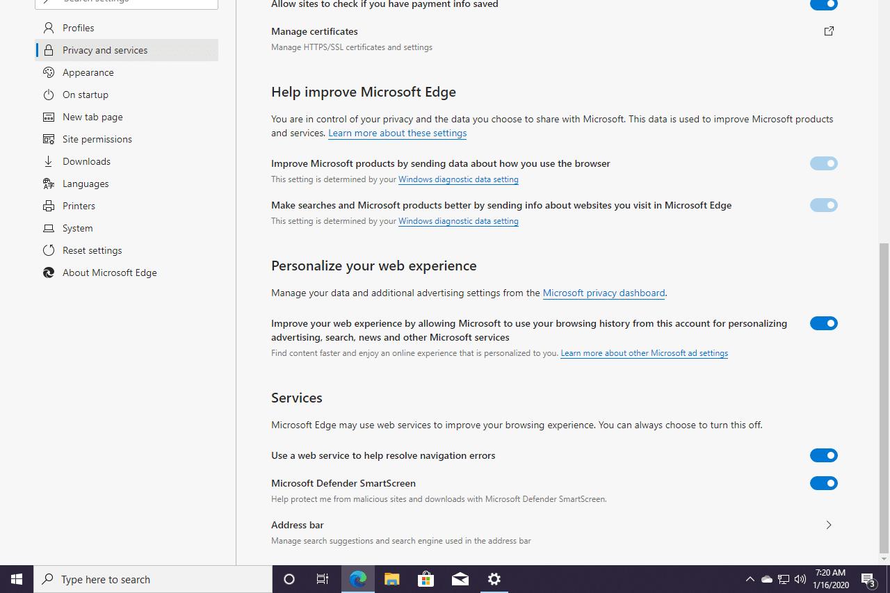 Edge services settings