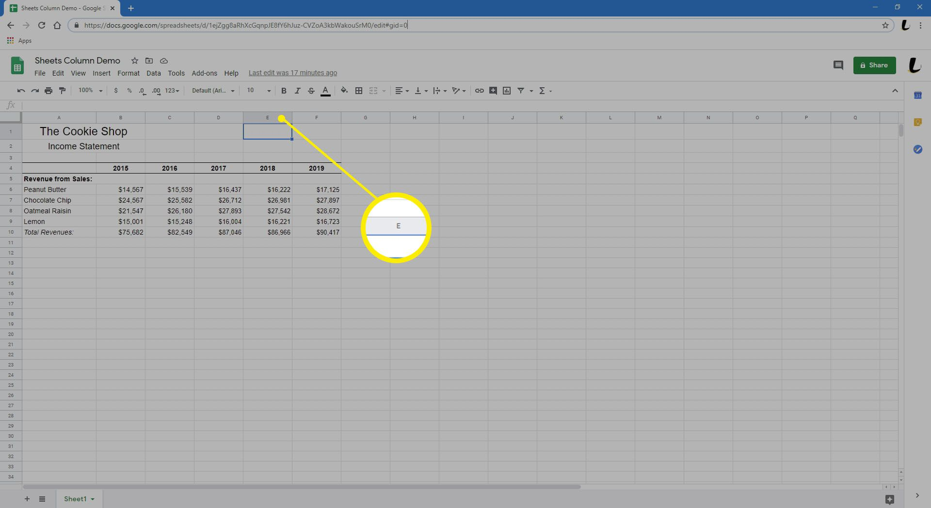 Hovering over a column in Sheets.