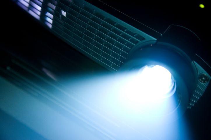 Video projector shining light