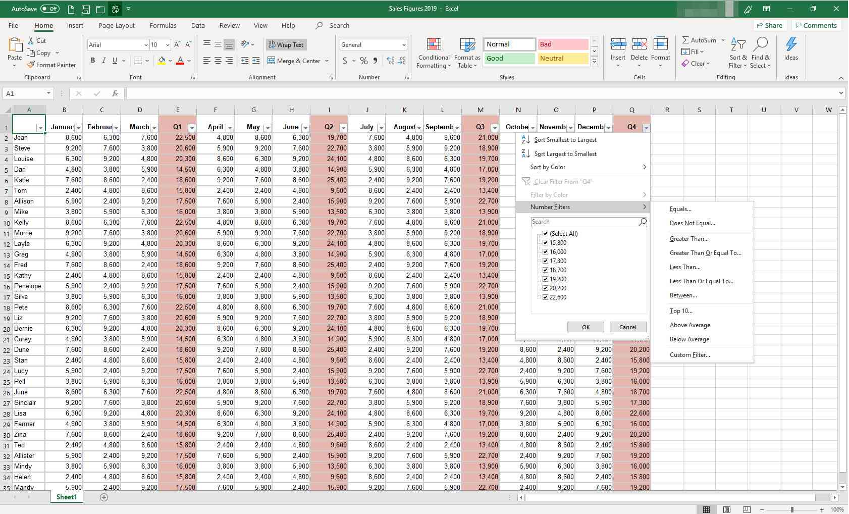 MS Excel with filters dialog box displayed