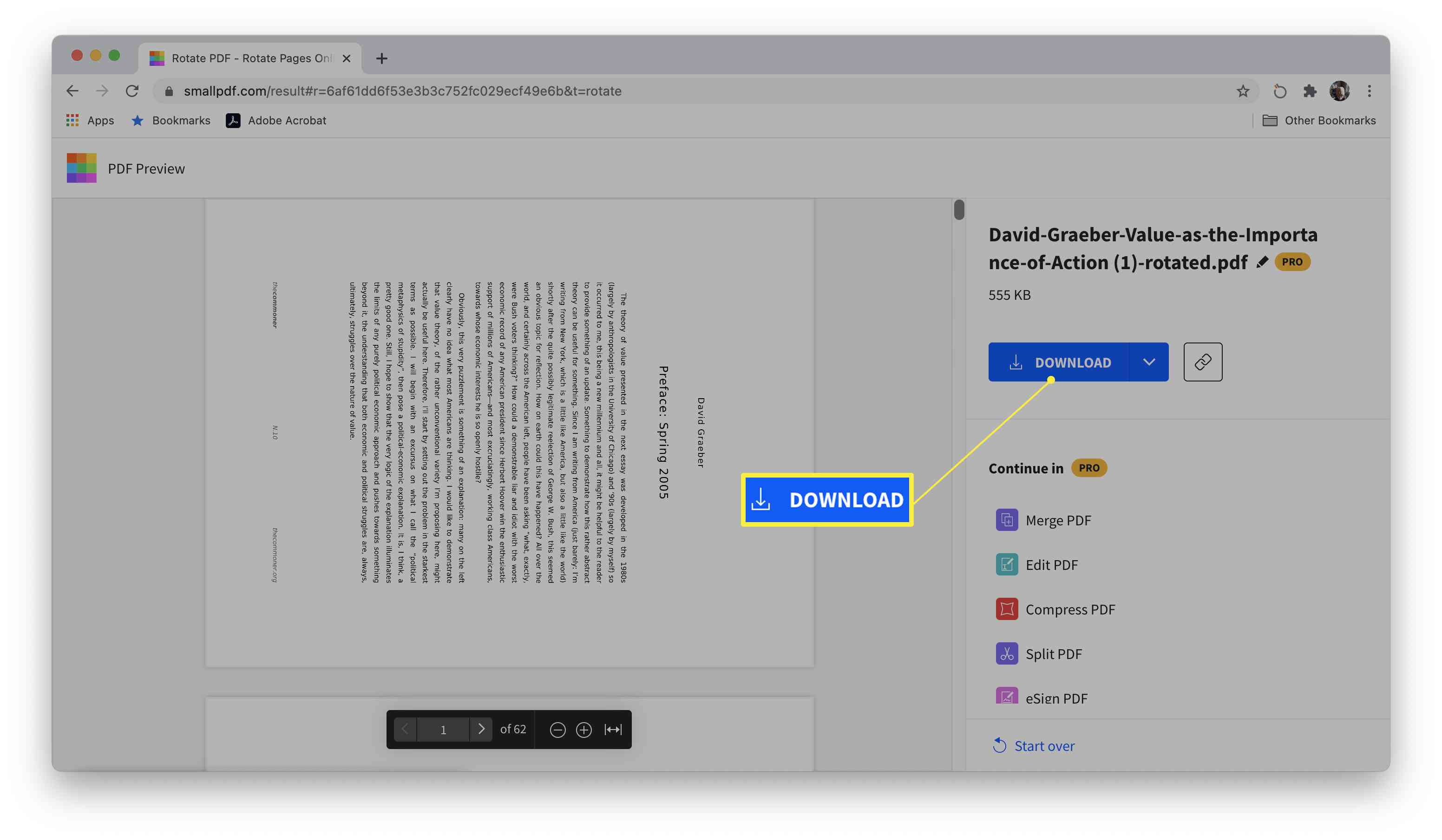 Smallpdf site with PDF document edited and download button highlighted