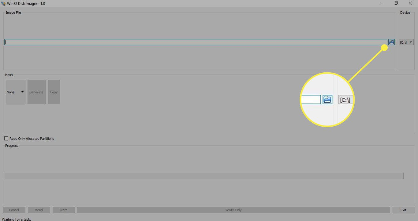 The File button in Disk Image