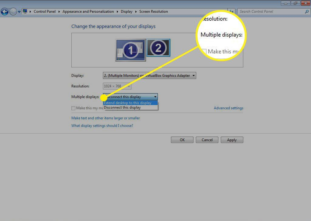Multiple Displays settings in Screen Resolution