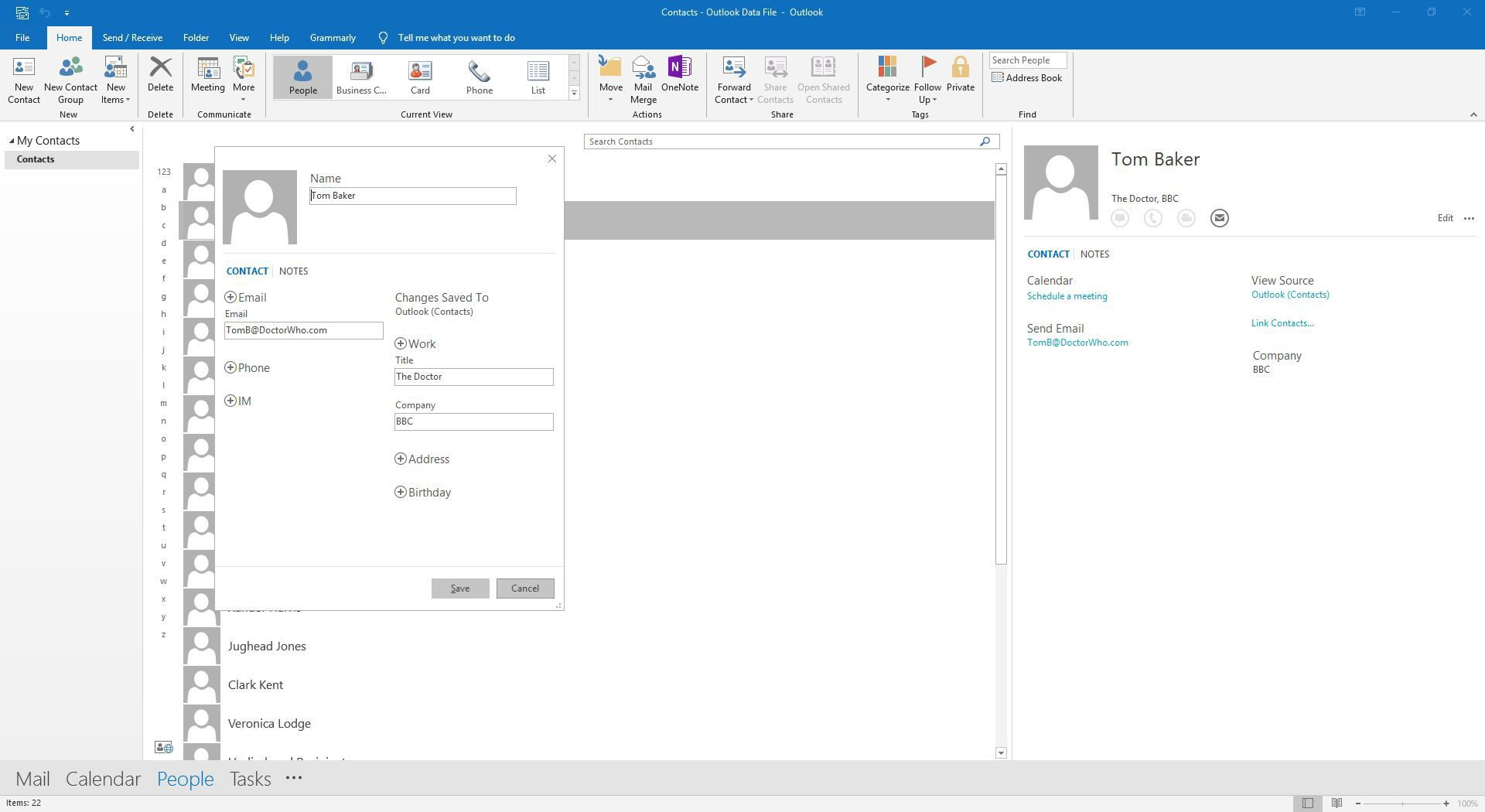 Viewing details of a contact in Outlook