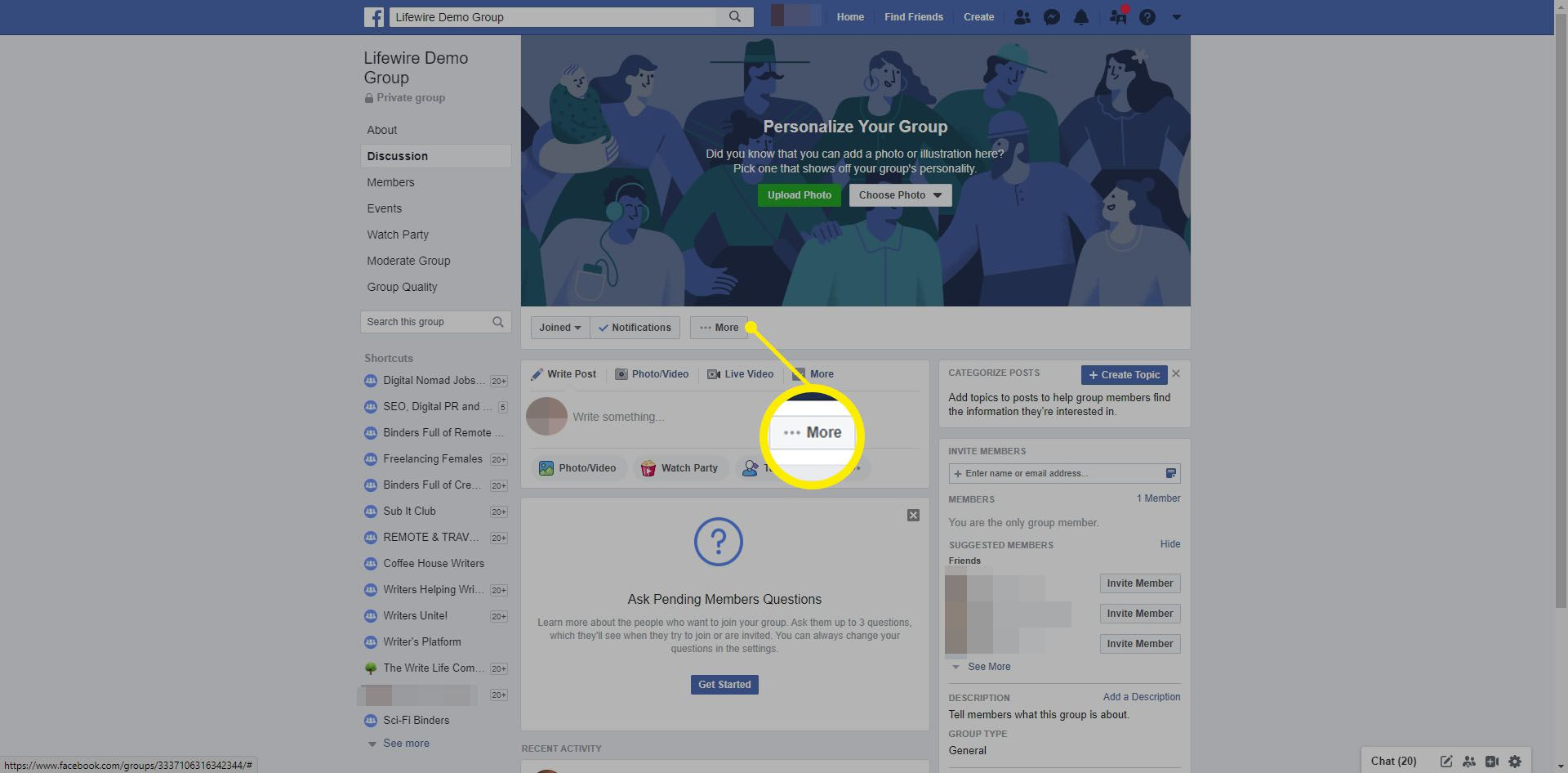 Selecting More in a Facebook page.