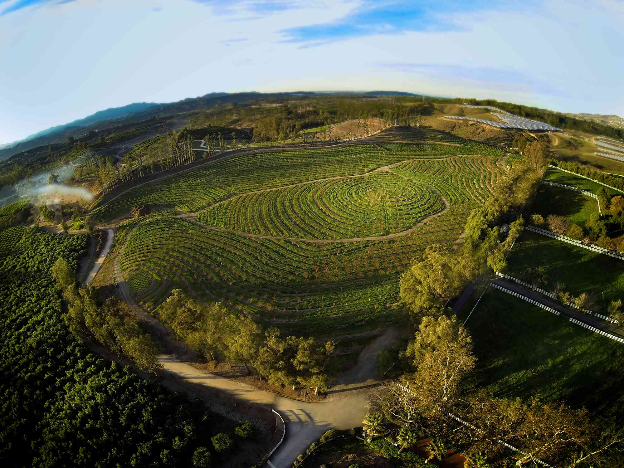 Aerial shot of the farm in Biggest Little Farm