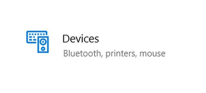 Devices option in settings
