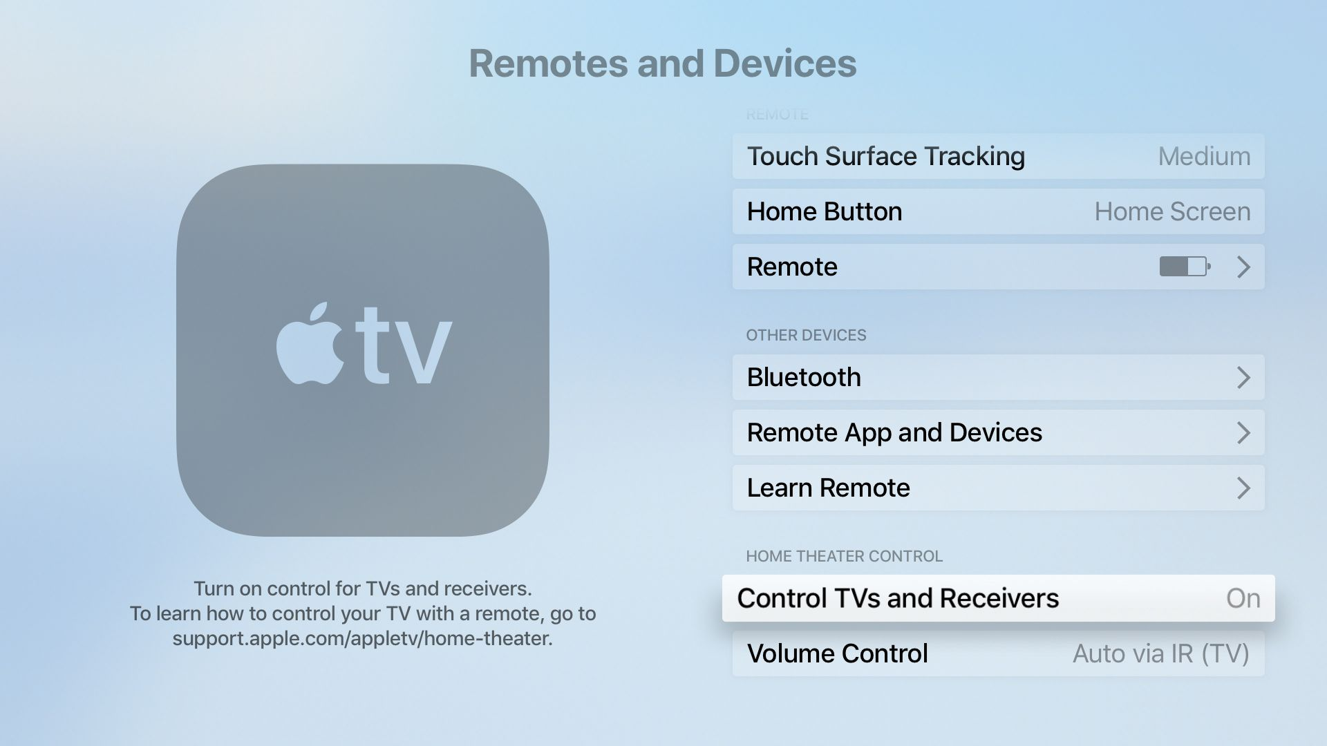 Settings that let the Apple TV control an HDTV