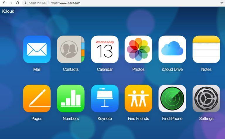 A screenshot of the iCloud web interface in the Google Chrome browser for Windows