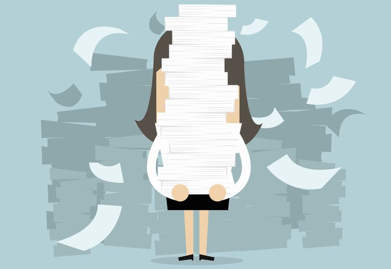 Illustration of woman holding stack of papers with them falling around her