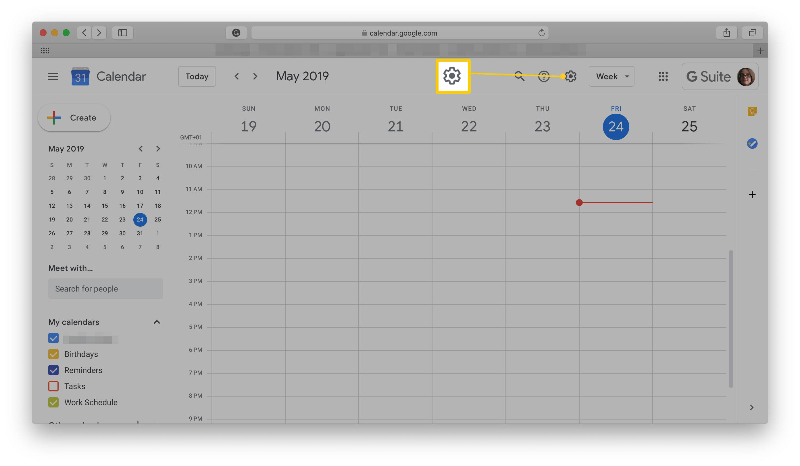 Google Calendar screen with Settings Cog highlighted