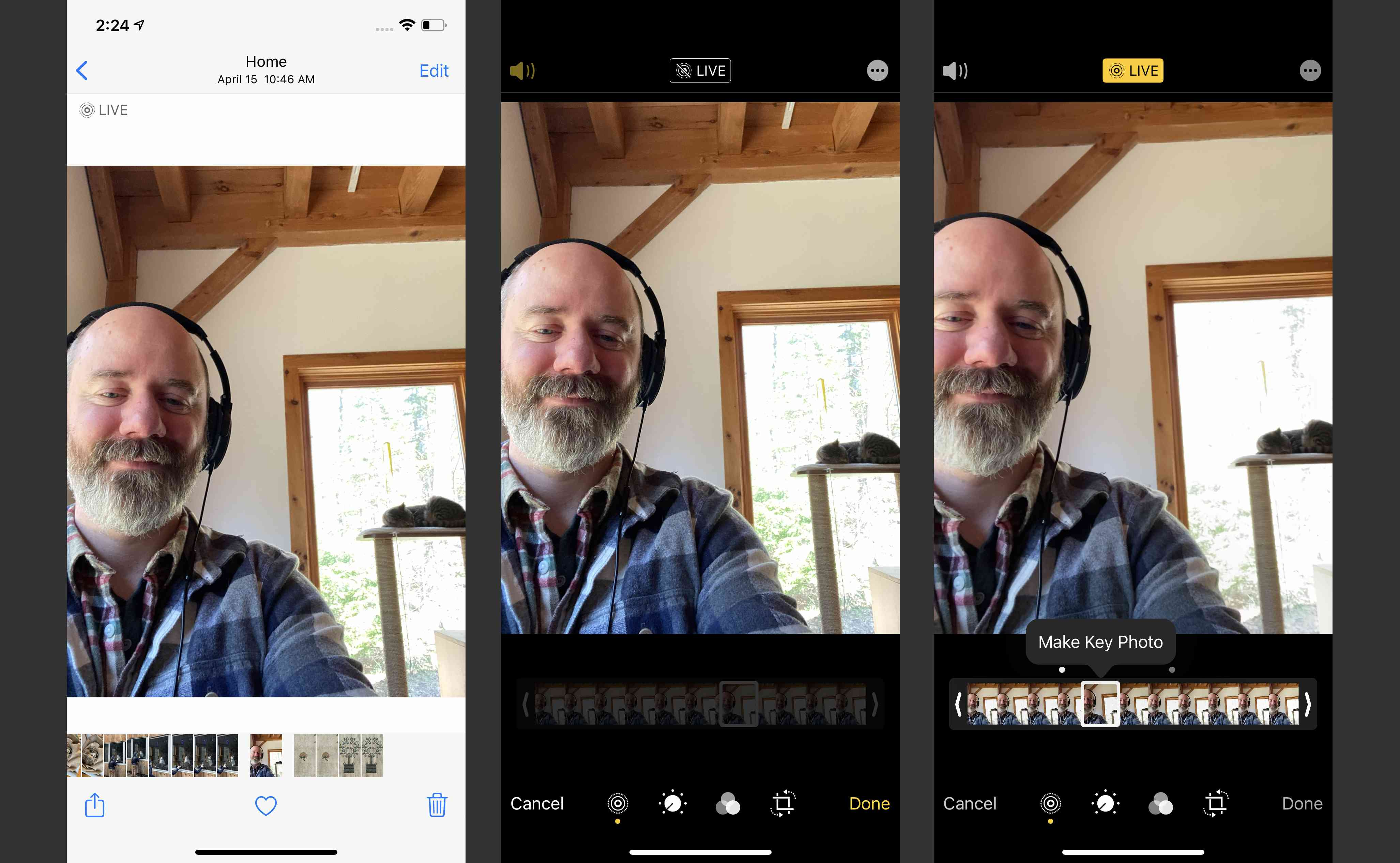 Screenshots of changing Live Photo Key Frame