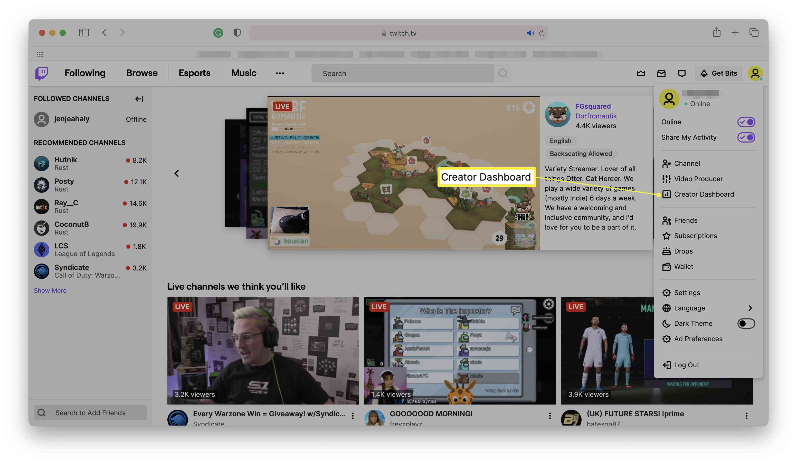 Twitch home page with profile options open