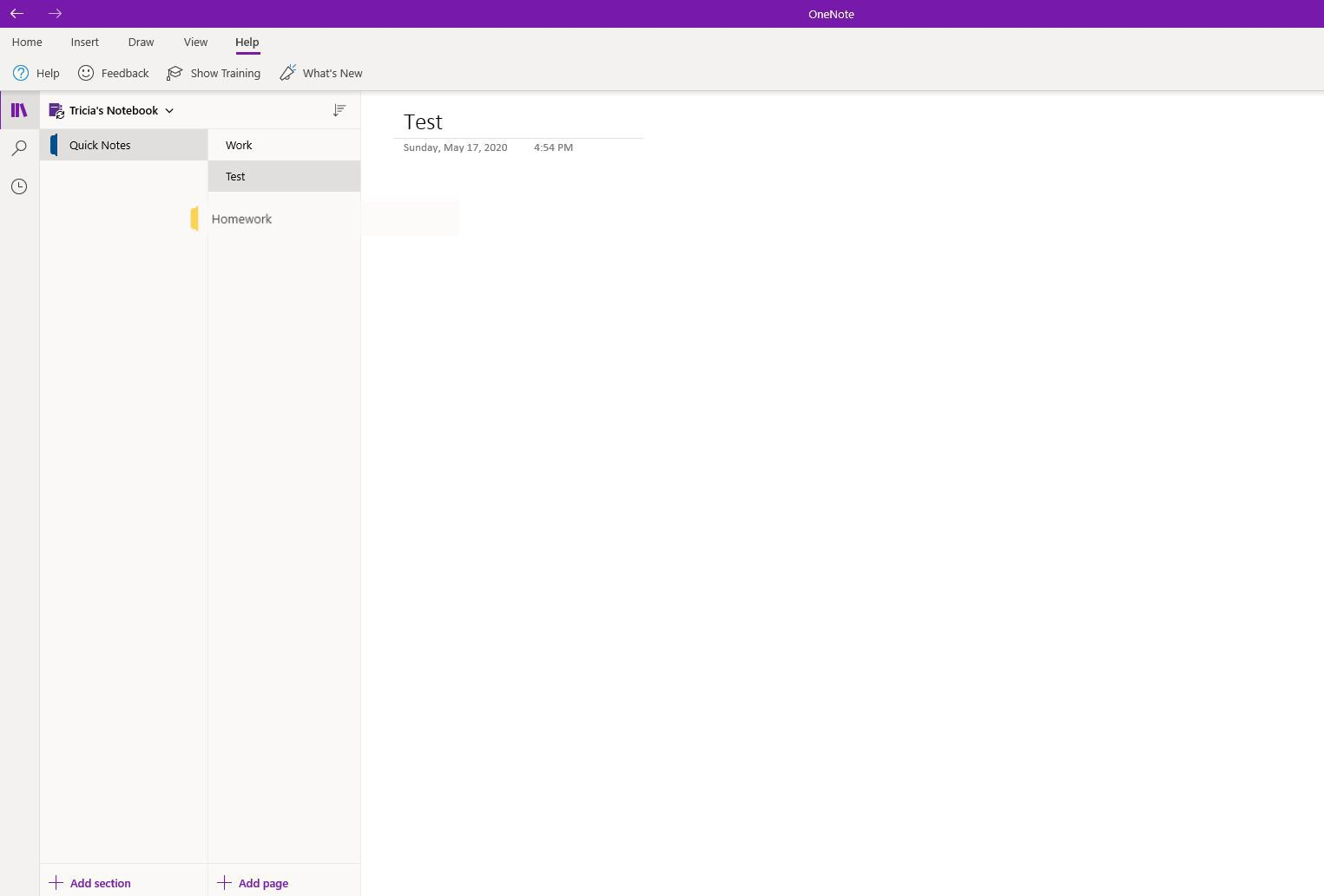Moving a page in OneNote.