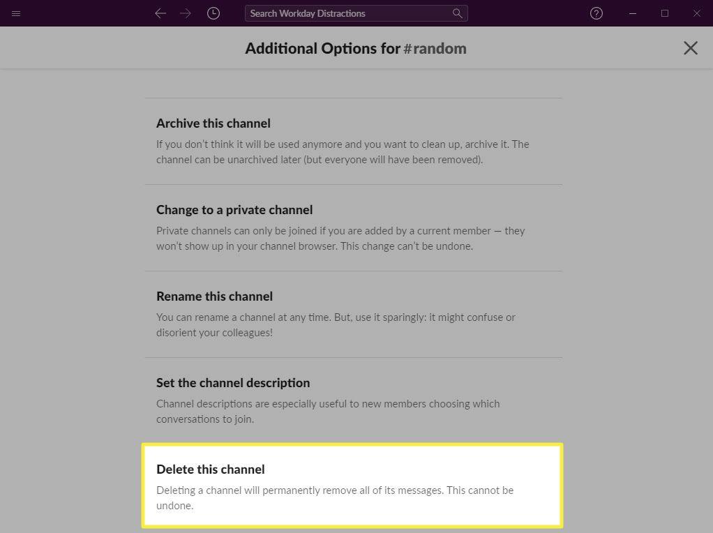 The Delete Channel option on Slack.