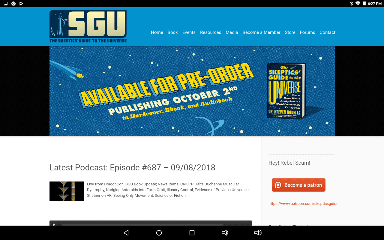 Skeptics Guide to the Universe podcast home page