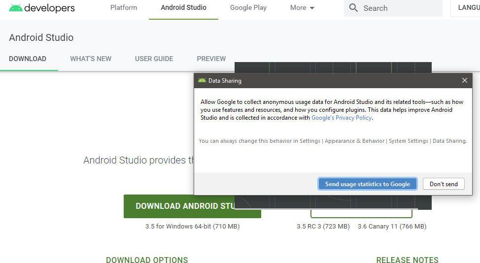 screenshot of Android Studio Data Sharing
