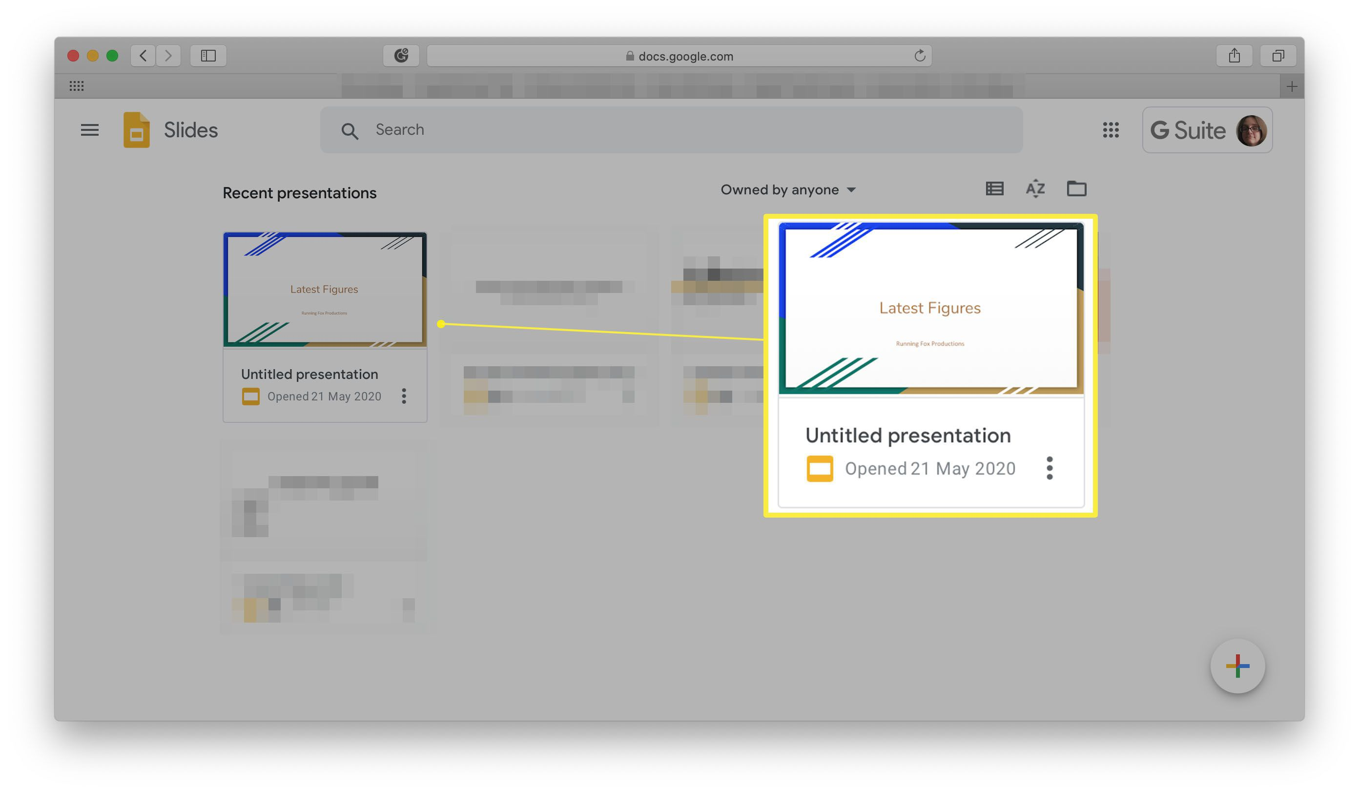 Google Slides with a presentation highlighted