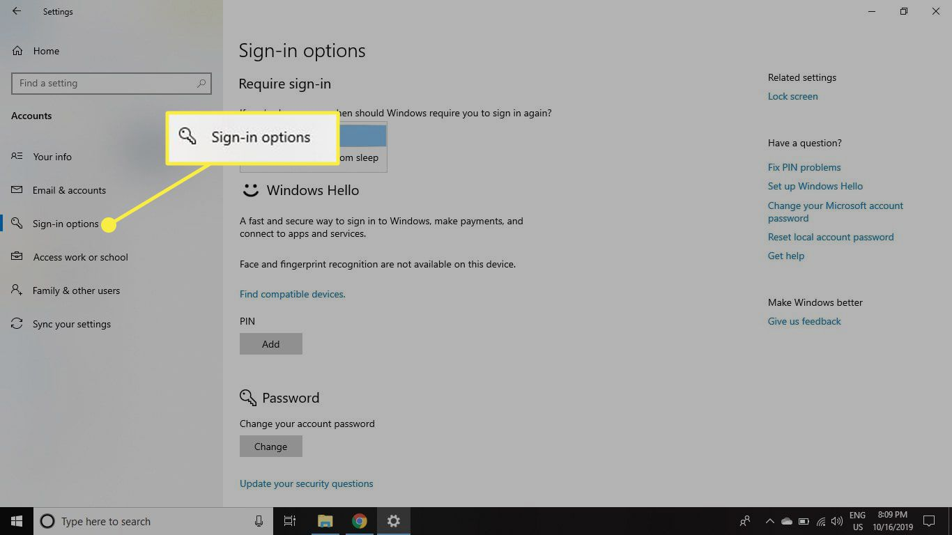 The Sign-In Options section in Windows 10 Account settings