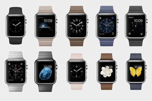 Apple watches lined up on a white background