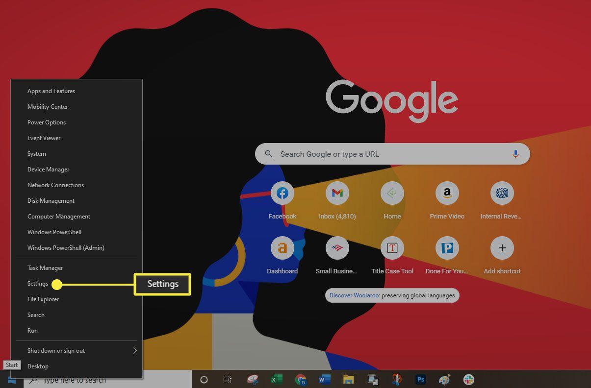 Windows 10 - Start menu > Settings